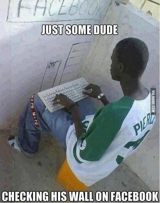 checking facebook wall (9gag)