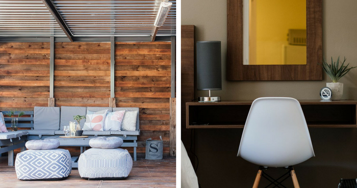 Relax into the comfy pouffe in the lapa (left); You'll be sure to meet your deadlines after a few hours spent at this modern desk (right) | Photos: TravelGround