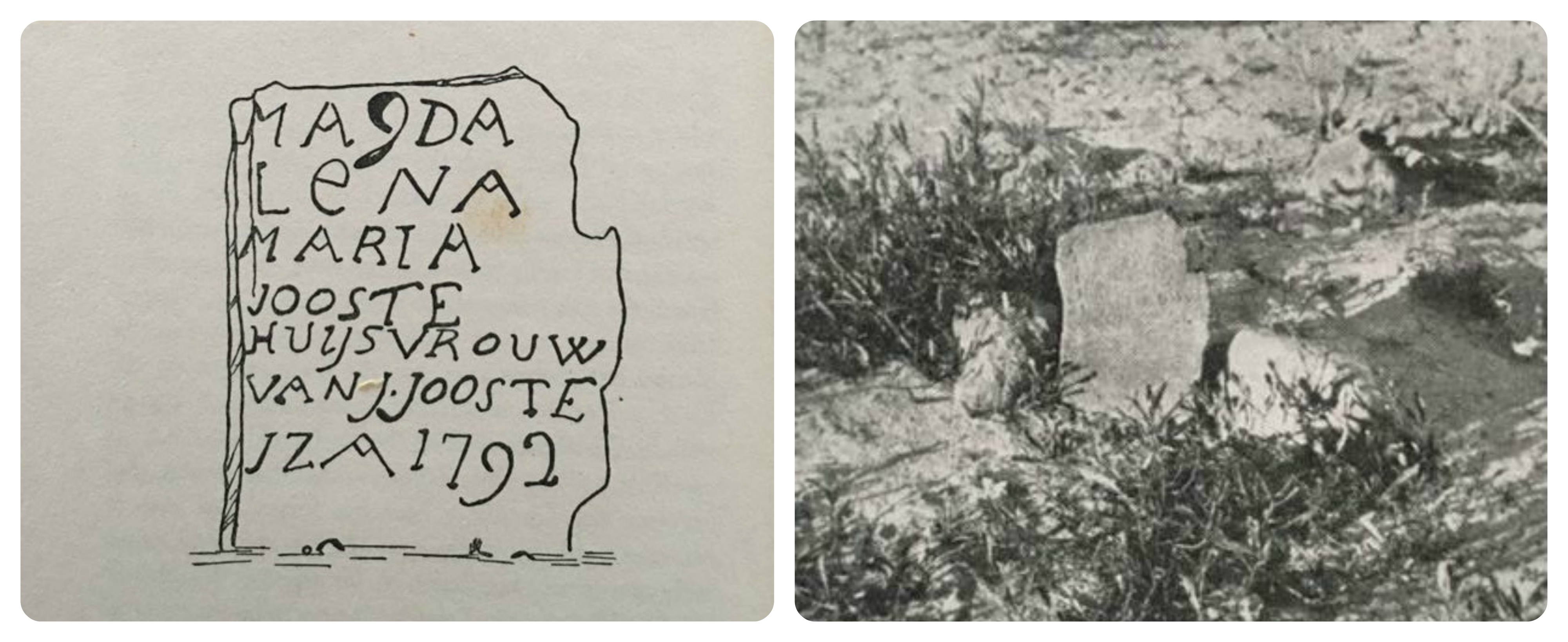 A drawing and a photograph by E.E. Mossop of Maria Magdalena Jooste's grave, which has since disappeared.