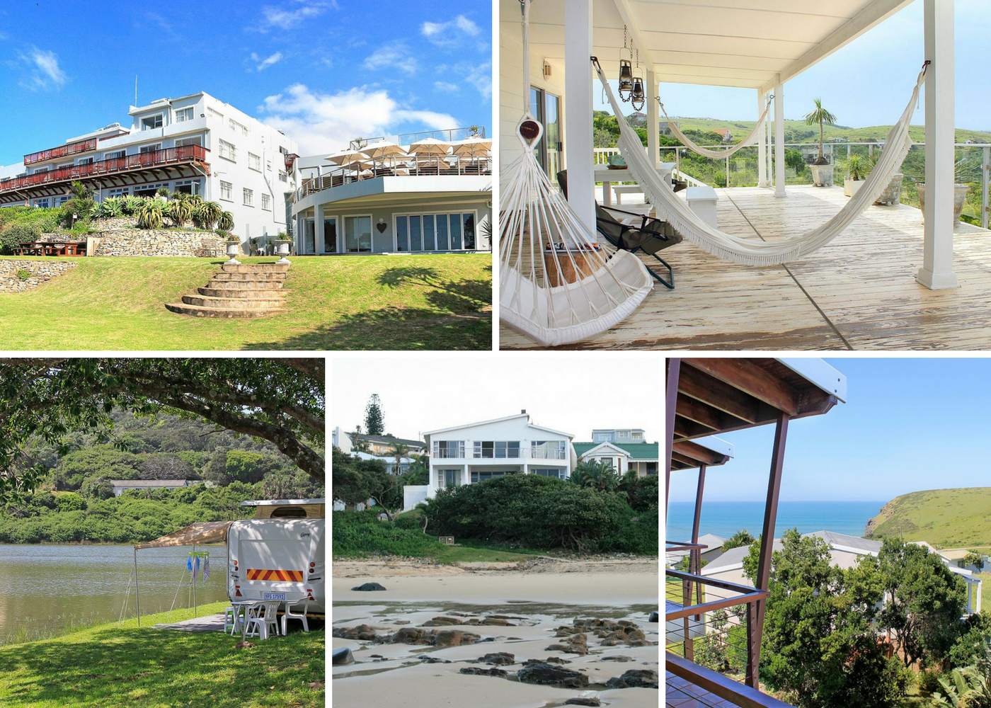 Top left: Morgan Bay Hotel, Top right: The Sullies, Bottom left: Morgan Bay Caravan Park, Bottom middle: Seaside Holiday House, Bottom right: Ocean Valley View