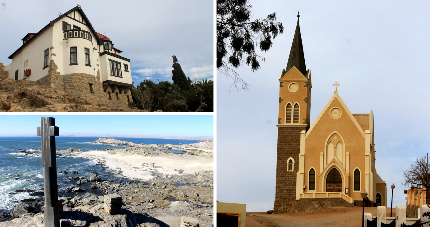 Bo links: Goerke Haus. Onder links: Diaz Cross. Regs: Felsenkirche. Daniëlle Terblanche