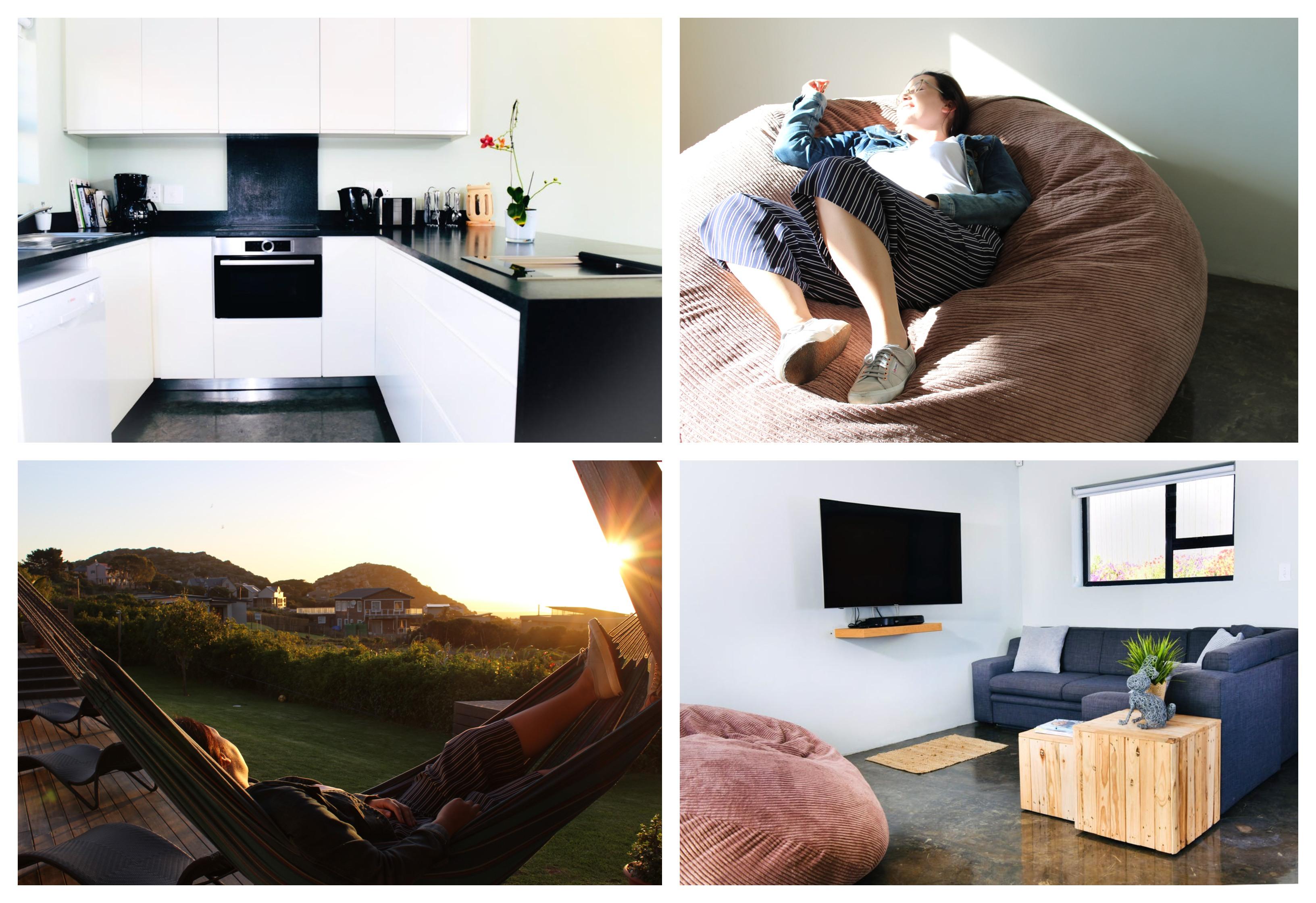 Nadat jy kos gemaak het in die ontwerperskombuis, kan jy op die pouffe-kussing, voor die TV of in die hangmat ontspan.