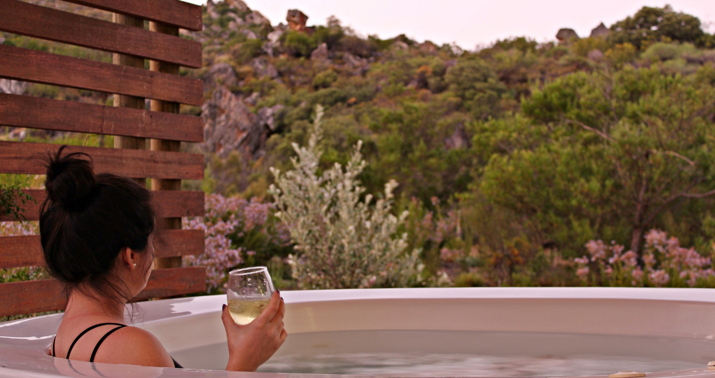 Relaxing in the private Jacuzzi at Cederkloof.