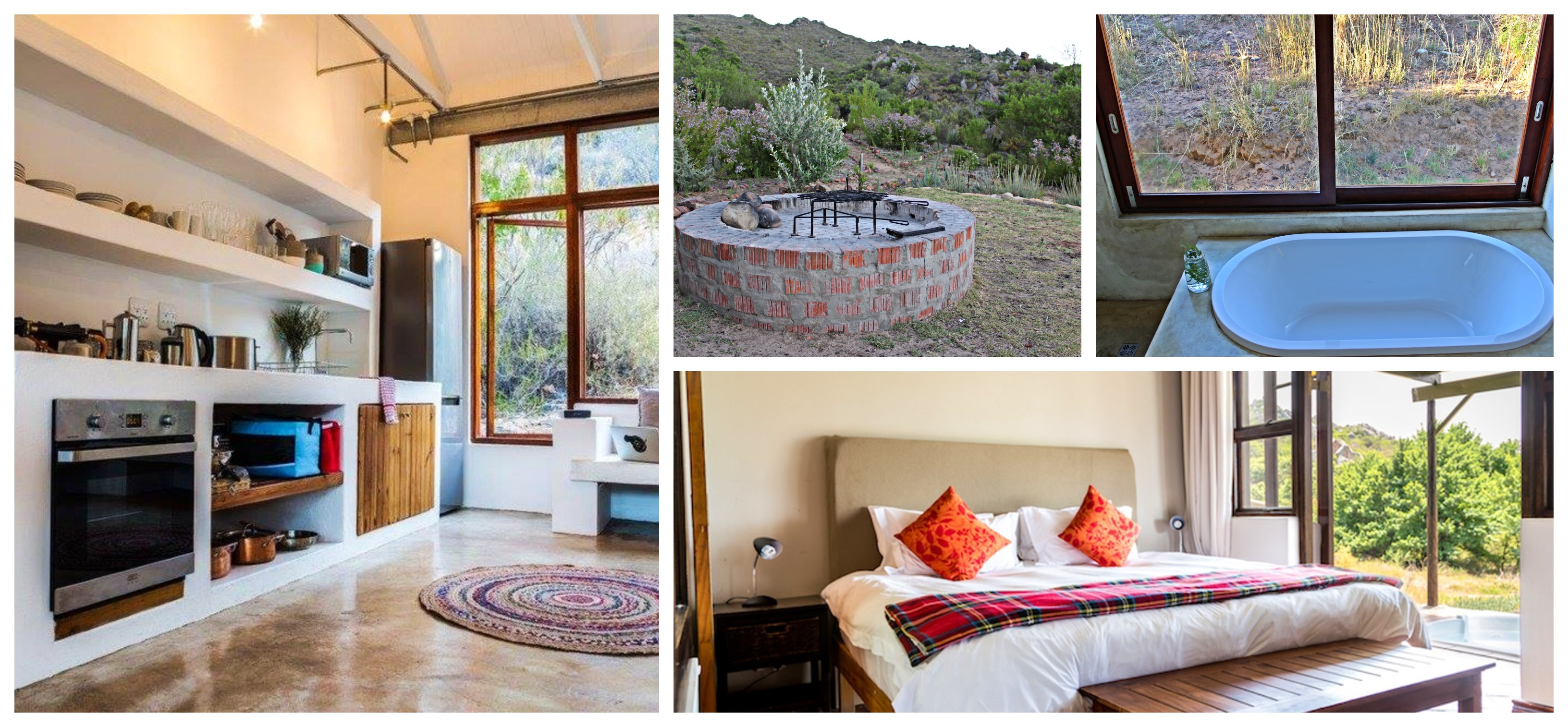 Inside a chalet at Cederkloof.   Photos left and bottom right: TravelGround