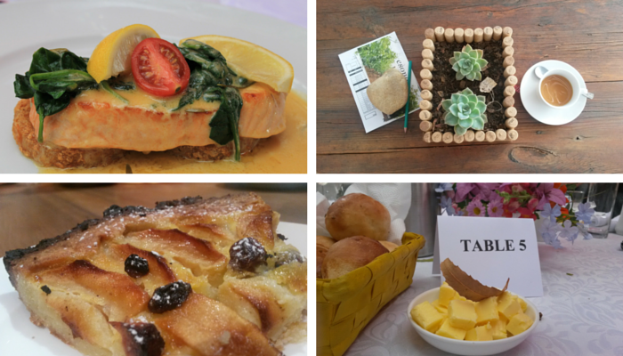 McGregor Foods collage - Salmon, apple tart, butter and rolls and tea. By Roseanna McBain (C) TravelGround
