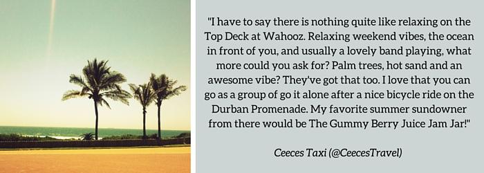 Ceeces Taxi: Summer Sundowner Spot